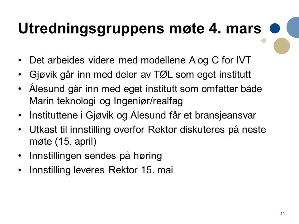 19 Utredningsgruppens møte 4. mars Det arbeides videre med modellene A og C for IVT Gjøvik går inn med deler av TØL som eget institutt Ålesund går inn