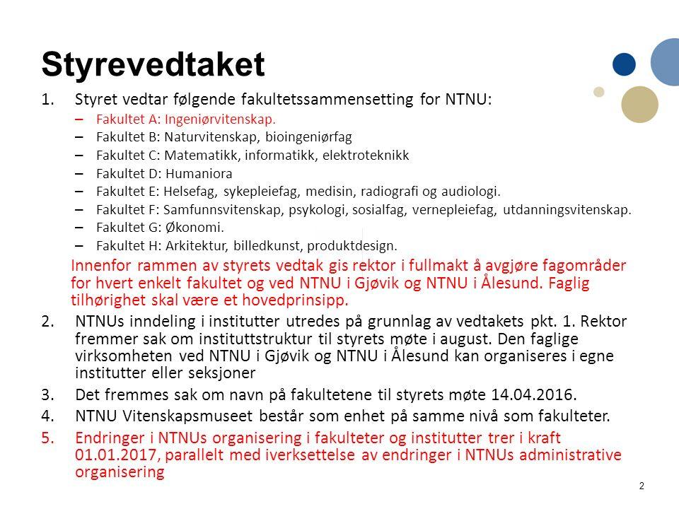 2 Styrevedtaket 1.Styret vedtar følgende fakultetssammensetting for NTNU: – Fakultet A: Ingeniørvitenskap.