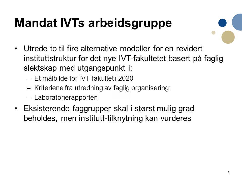 5 Mandat IVTs arbeidsgruppe Utrede to til fire alternative modeller for en revidert instituttstruktur for det nye IVT-fakultetet basert på faglig slek