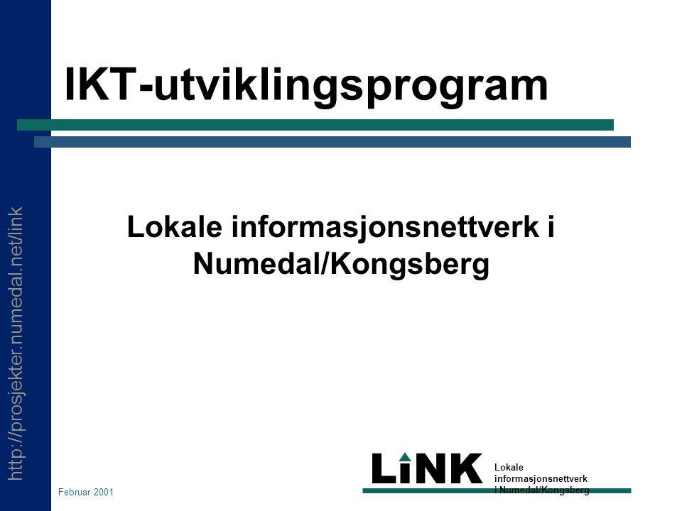 http://prosjekter.numedal.net/link LINK Lokale informasjonsnettverk i Numedal/Kongsberg Februar 2001 IKT-utviklingsprogram Lokale informasjonsnettverk i Numedal/Kongsberg