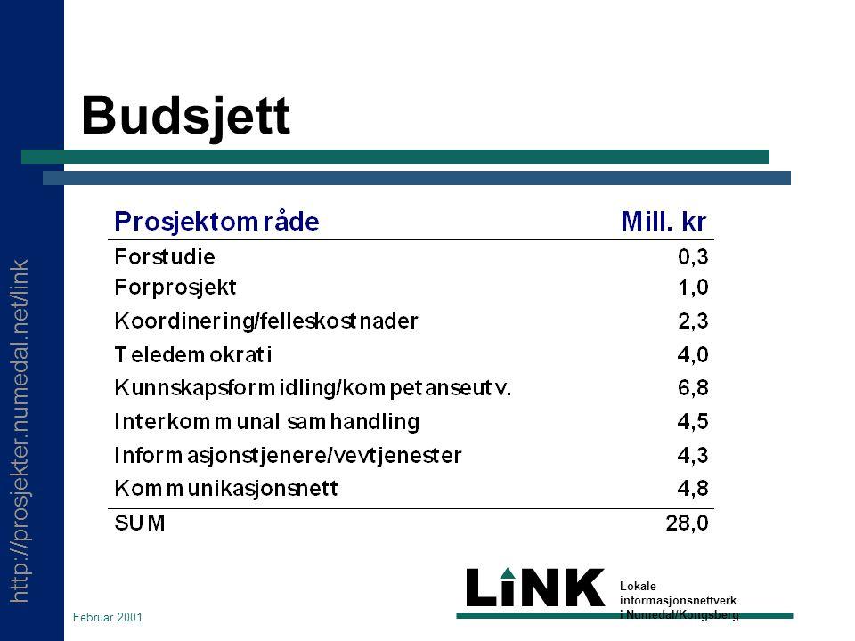 http://prosjekter.numedal.net/link LINK Lokale informasjonsnettverk i Numedal/Kongsberg Februar 2001 Budsjett