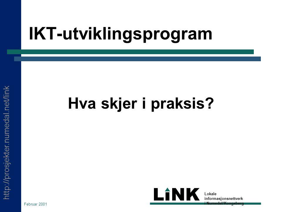 http://prosjekter.numedal.net/link LINK Lokale informasjonsnettverk i Numedal/Kongsberg Februar 2001 IKT-utviklingsprogram Hva skjer i praksis