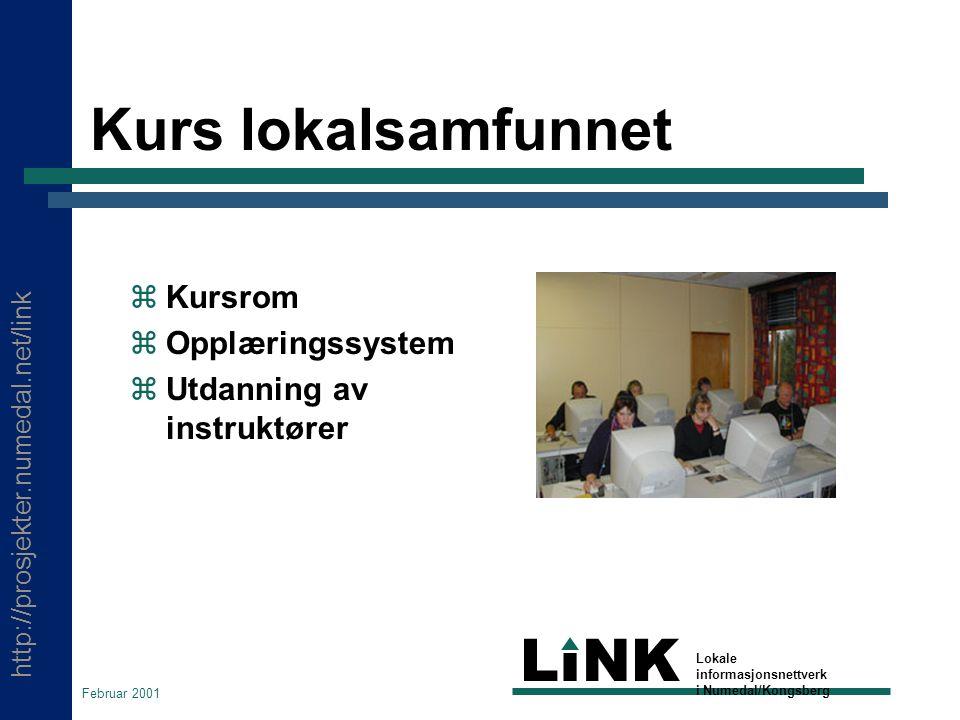 http://prosjekter.numedal.net/link LINK Lokale informasjonsnettverk i Numedal/Kongsberg Februar 2001 Kurs lokalsamfunnet  Kursrom  Opplæringssystem  Utdanning av instruktører