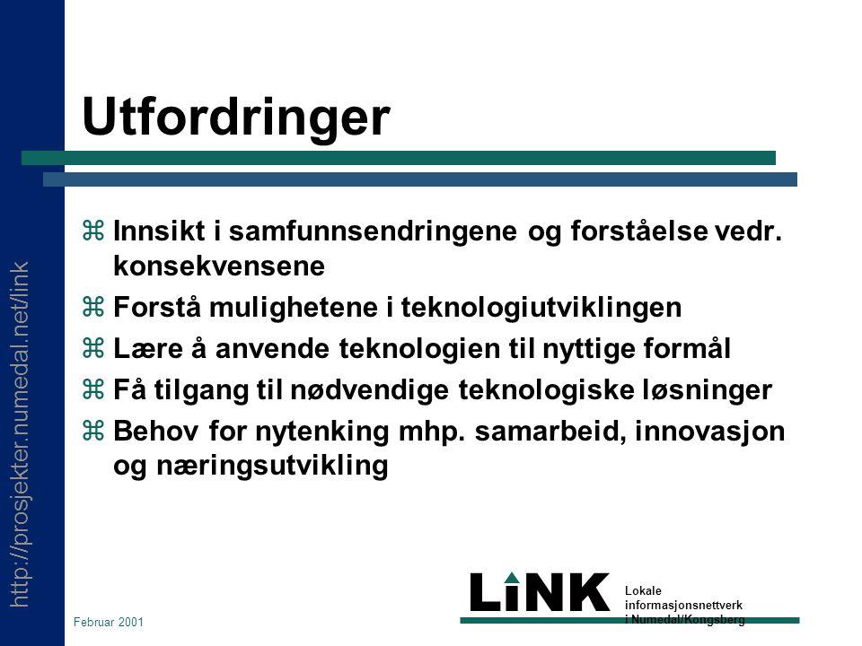 http://prosjekter.numedal.net/link LINK Lokale informasjonsnettverk i Numedal/Kongsberg Februar 2001 Utfordringer  Innsikt i samfunnsendringene og forståelse vedr.