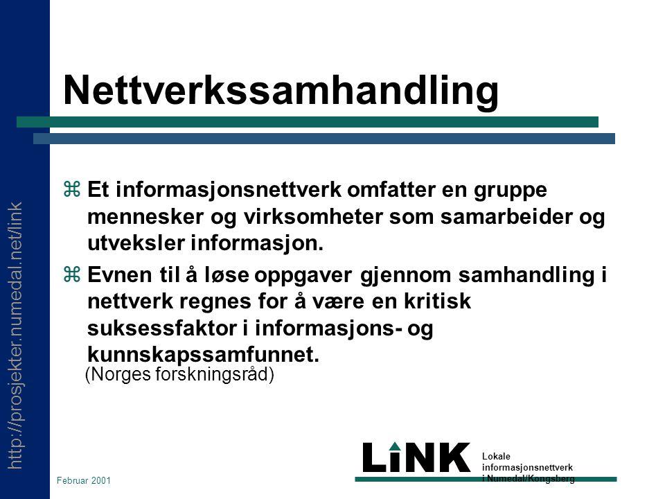 http://prosjekter.numedal.net/link LINK Lokale informasjonsnettverk i Numedal/Kongsberg Februar 2001 Nettverkssamhandling  Et informasjonsnettverk omfatter en gruppe mennesker og virksomheter som samarbeider og utveksler informasjon.