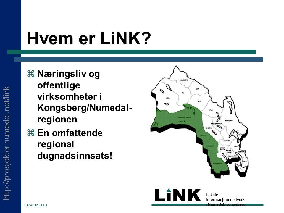 http://prosjekter.numedal.net/link LINK Lokale informasjonsnettverk i Numedal/Kongsberg Februar 2001 Hvem er LiNK.