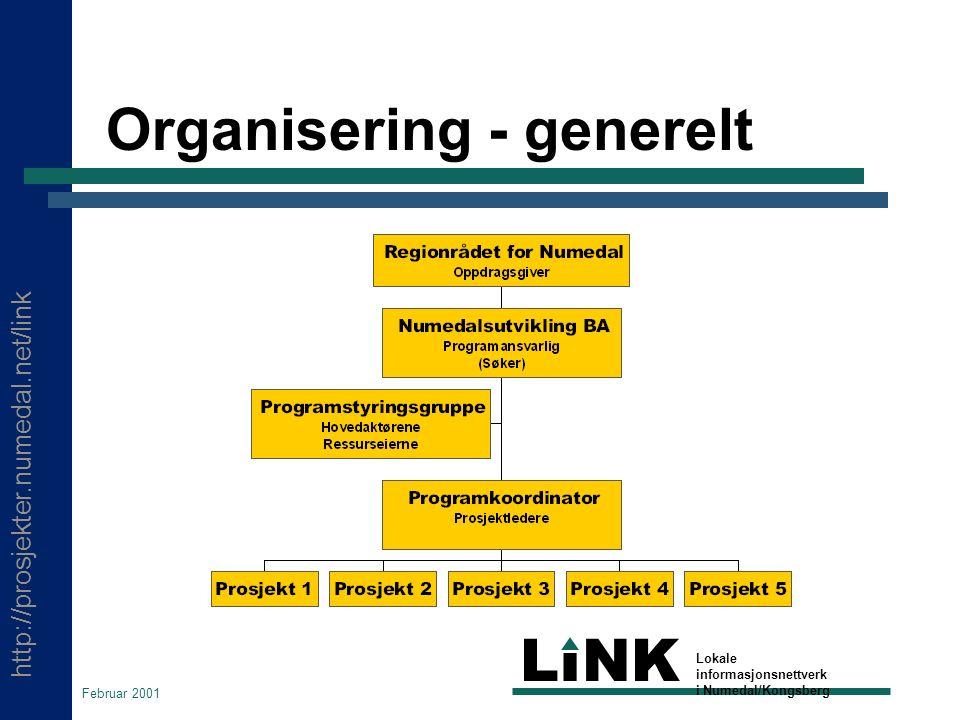 http://prosjekter.numedal.net/link LINK Lokale informasjonsnettverk i Numedal/Kongsberg Februar 2001 Organisering - generelt