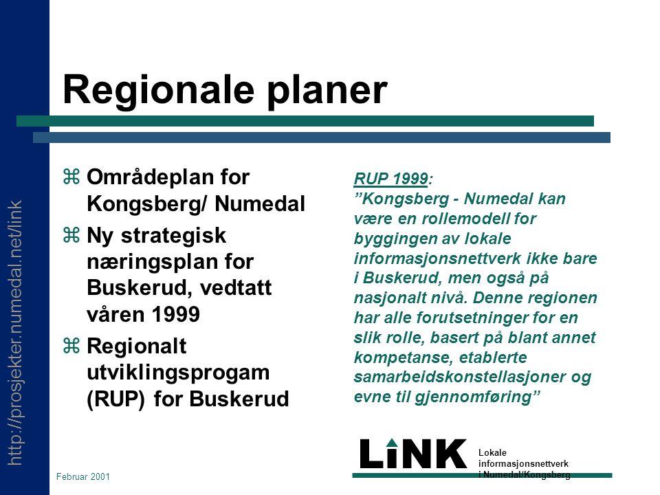 http://prosjekter.numedal.net/link LINK Lokale informasjonsnettverk i Numedal/Kongsberg Februar 2001 Regionale planer  Områdeplan for Kongsberg/ Numedal  Ny strategisk næringsplan for Buskerud, vedtatt våren 1999  Regionalt utviklingsprogam (RUP) for Buskerud RUP 1999: Kongsberg - Numedal kan være en rollemodell for byggingen av lokale informasjonsnettverk ikke bare i Buskerud, men også på nasjonalt nivå.