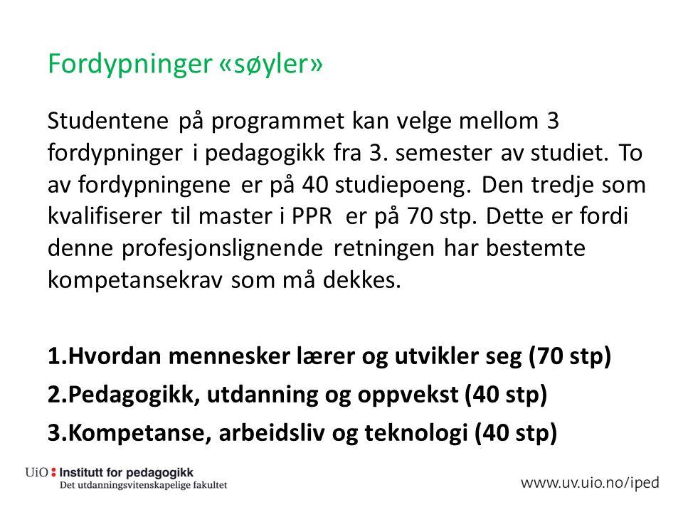 Fordypninger «søyler» Studentene på programmet kan velge mellom 3 fordypninger i pedagogikk fra 3.