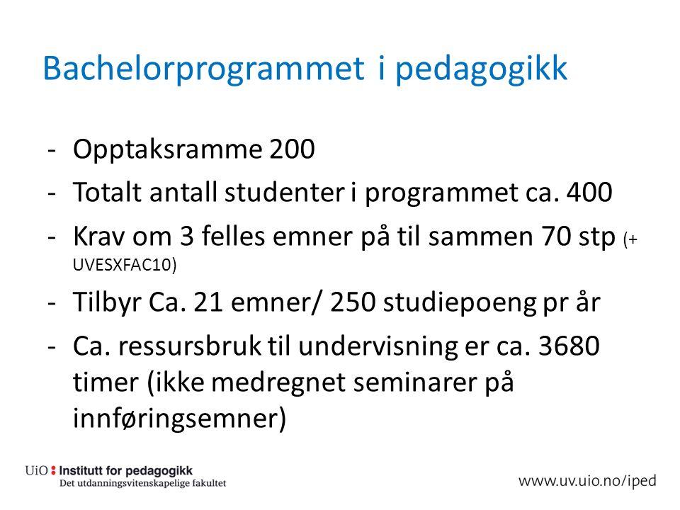 Bachelorprogrammet i pedagogikk -Opptaksramme 200 -Totalt antall studenter i programmet ca. 400 -Krav om 3 felles emner på til sammen 70 stp (+ UVESXF