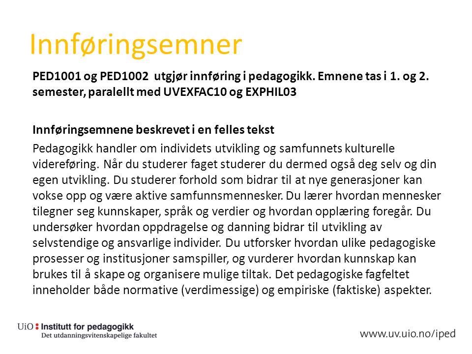 Innføringsemner PED1001 og PED1002 utgjør innføring i pedagogikk. Emnene tas i 1. og 2. semester, paralellt med UVEXFAC10 og EXPHIL03 Innføringsemnene