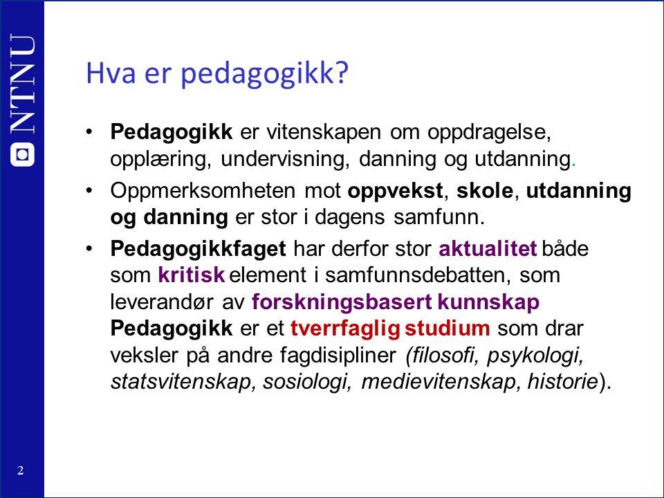 2 Hva er pedagogikk.