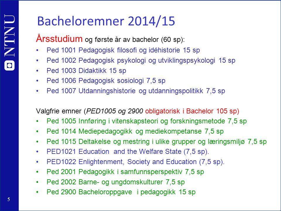 5 Bacheloremner 2014/15 Årsstudium og første år av bachelor (60 sp): Ped 1001 Pedagogisk filosofi og idéhistorie 15 sp Ped 1002 Pedagogisk psykologi og utviklingspsykologi 15 sp Ped 1003 Didaktikk 15 sp Ped 1006 Pedagogisk sosiologi 7,5 sp Ped 1007 Utdanningshistorie og utdanningspolitikk 7,5 sp Valgfrie emner (PED1005 og 2900 obligatorisk i Bachelor 105 sp) Ped 1005 Innføring i vitenskapsteori og forskningsmetode 7,5 sp Ped 1014 Mediepedagogikk og mediekompetanse 7,5 sp Ped 1015 Deltakelse og mestring i ulike grupper og læringsmiljø 7,5 sp PED1021 Education and the Welfare State (7,5 sp).