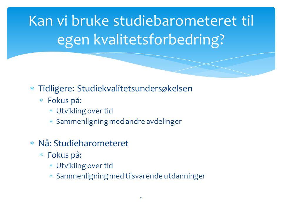  Tilbakemelding til studiebarometeret/NOKUT  Stort sett grei undersøkelse, men: 13 Hva kan studiebarometeret bruke oss til?