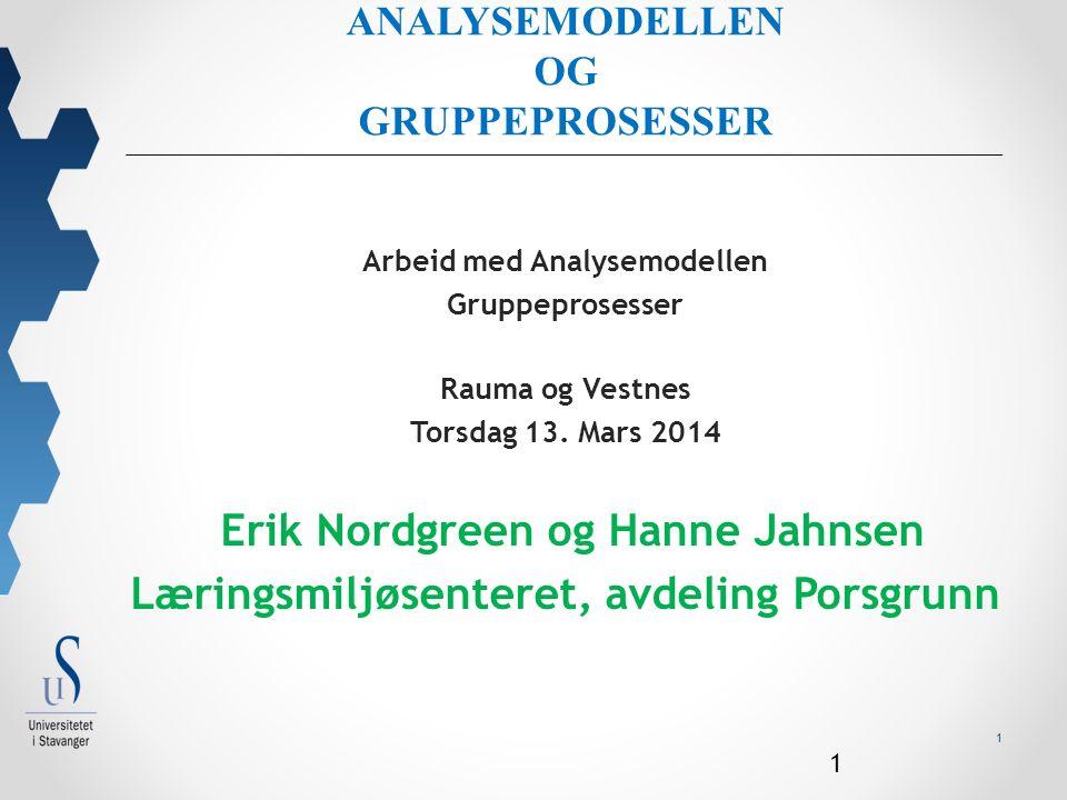 1 ANALYSEMODELLEN OG GRUPPEPROSESSER Arbeid med Analysemodellen Gruppeprosesser Rauma og Vestnes Torsdag 13.