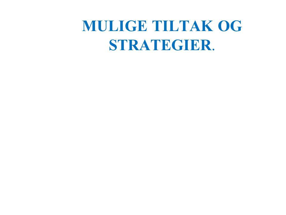 MULIGE TILTAK OG STRATEGIER.