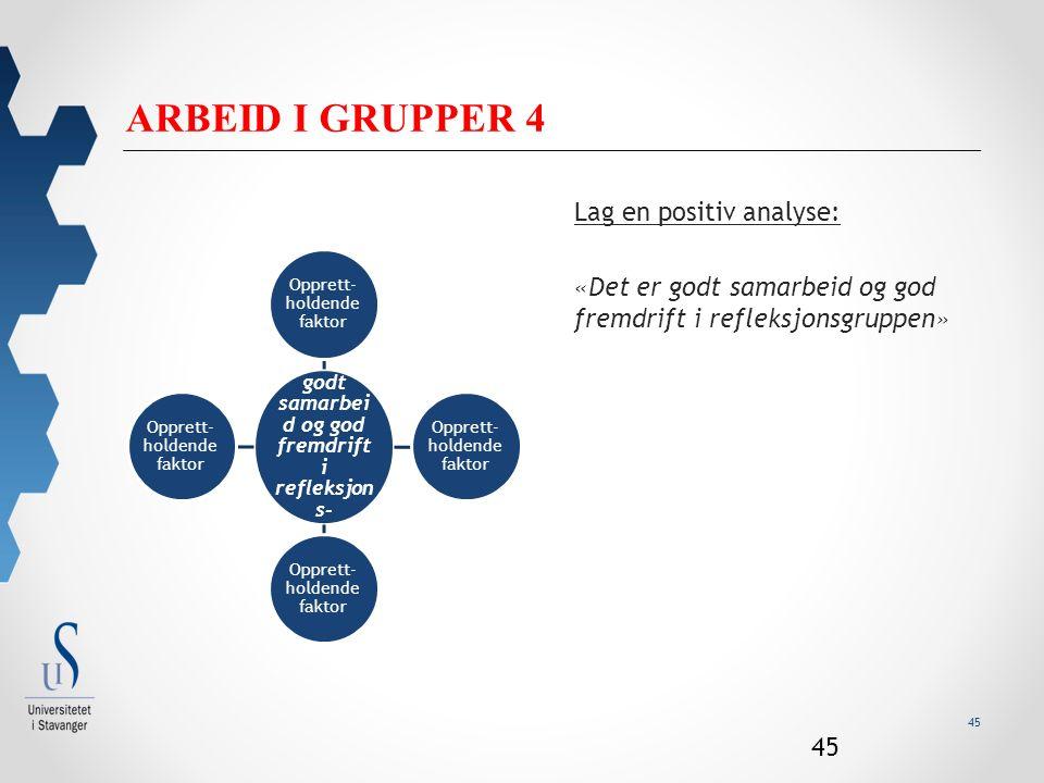 45 ARBEID I GRUPPER 4 Lag en positiv analyse: «Det er godt samarbeid og god fremdrift i refleksjonsgruppen» 45