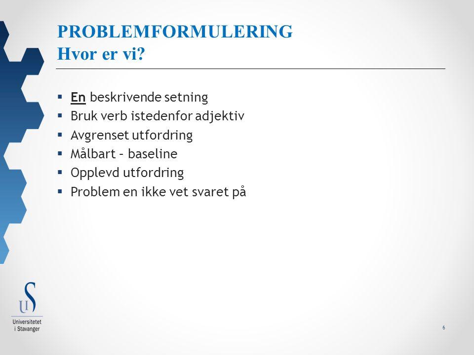 6 PROBLEMFORMULERING Hvor er vi.