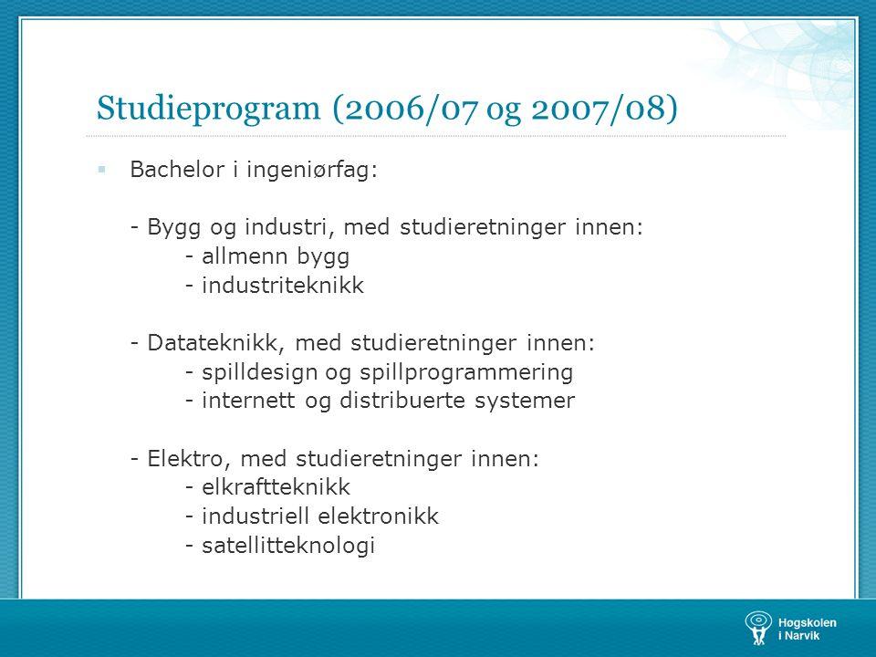 Studieprogram (2006/07 og 2007/08)  Bachelor i ingeniørfag: - Bygg og industri, med studieretninger innen: - allmenn bygg - industriteknikk - Datatek