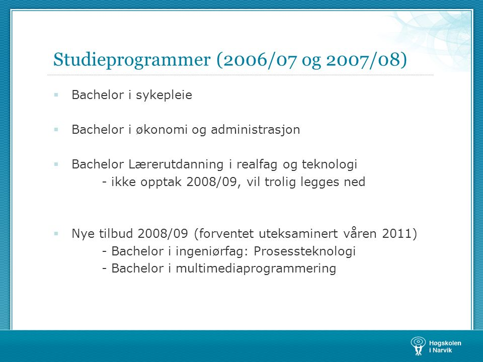Studieprogrammer (2006/07 og 2007/08)  Bachelor i sykepleie  Bachelor i økonomi og administrasjon  Bachelor Lærerutdanning i realfag og teknologi -