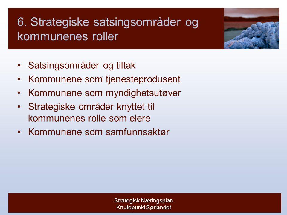 Strategisk Næringsplan Knutepunkt Sørlandet 6.