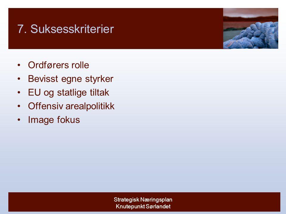 Strategisk Næringsplan Knutepunkt Sørlandet 7.