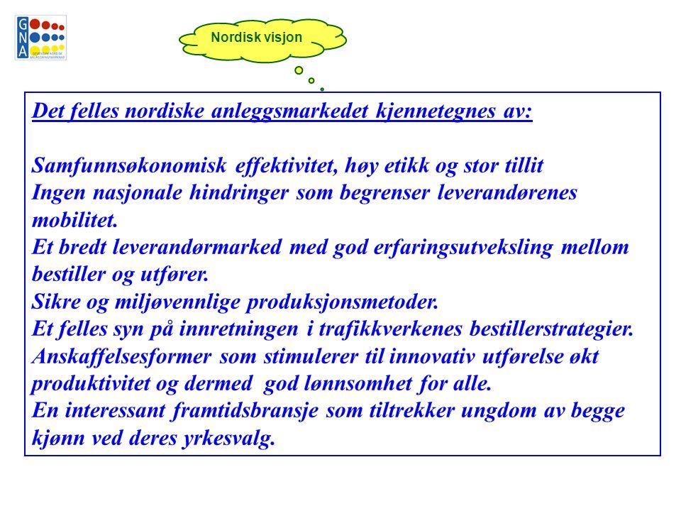 Det felles nordiske anleggsmarkedet kjennetegnes av: Samfunnsøkonomisk effektivitet, høy etikk og stor tillit Ingen nasjonale hindringer som begrenser leverandørenes mobilitet.