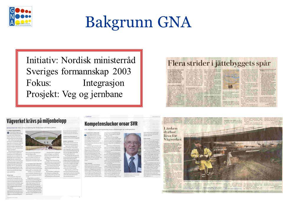 Bakgrunn GNA Initiativ: Nordisk ministerråd Sveriges formannskap 2003 Fokus: Integrasjon Prosjekt: Veg og jernbane