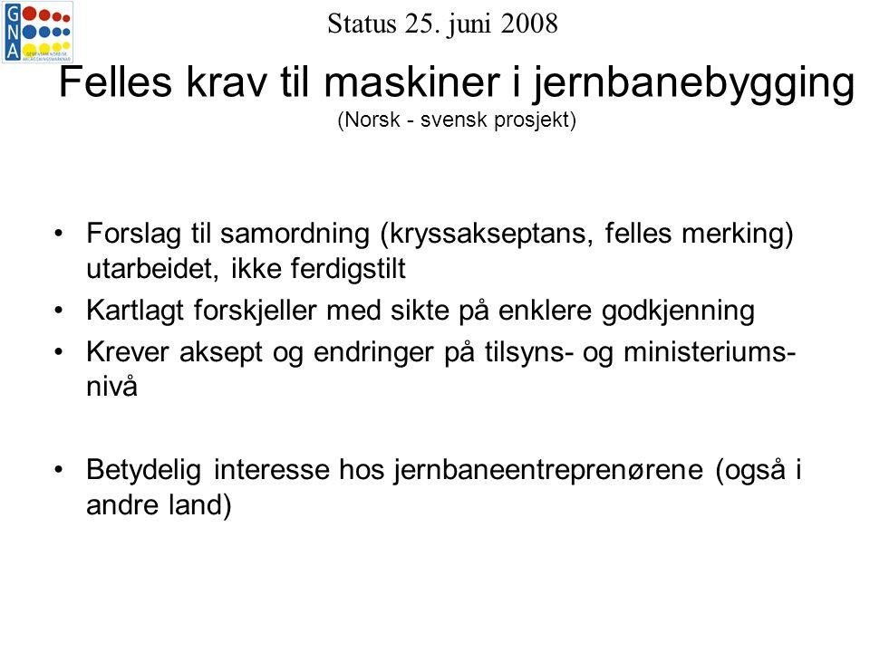 Felles krav til maskiner i jernbanebygging (Norsk - svensk prosjekt) Forslag til samordning (kryssakseptans, felles merking) utarbeidet, ikke ferdigstilt Kartlagt forskjeller med sikte på enklere godkjenning Krever aksept og endringer på tilsyns- og ministeriums- nivå Betydelig interesse hos jernbaneentreprenørene (også i andre land) Status 25.
