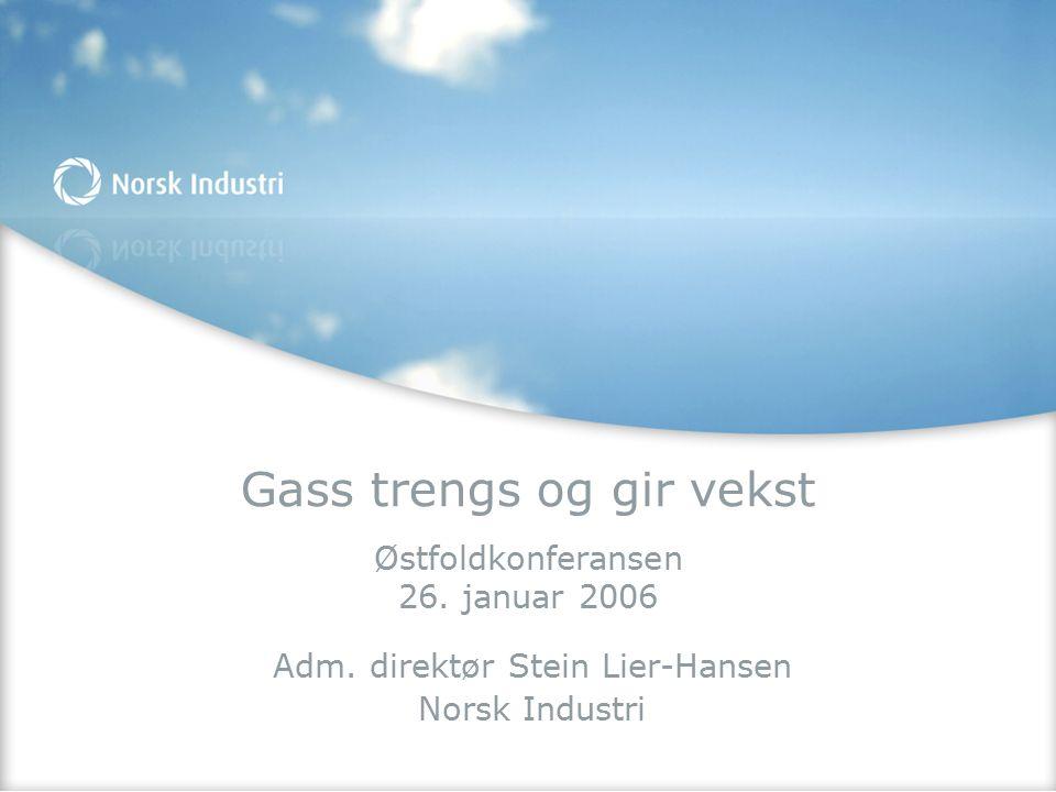 Gass trengs og gir vekst Østfoldkonferansen 26. januar 2006 Adm. direktør Stein Lier-Hansen Norsk Industri