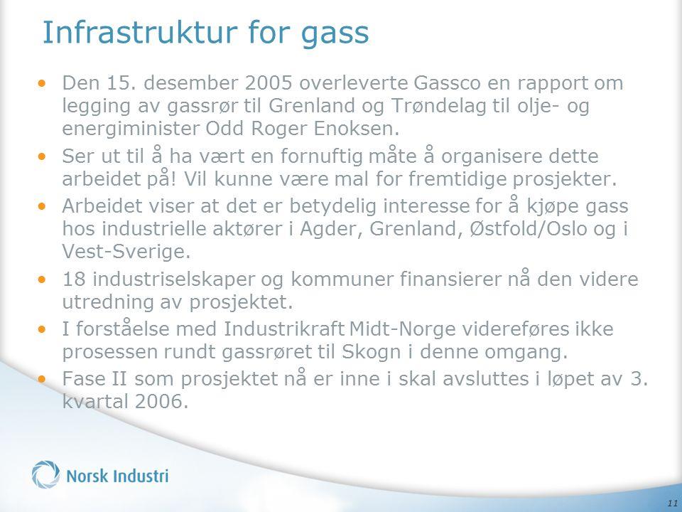 11 Infrastruktur for gass Den 15. desember 2005 overleverte Gassco en rapport om legging av gassrør til Grenland og Trøndelag til olje- og energiminis