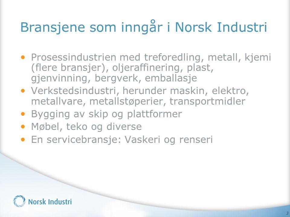 3 Bransjene som inngår i Norsk Industri Prosessindustrien med treforedling, metall, kjemi (flere bransjer), oljeraffinering, plast, gjenvinning, bergverk, emballasje Verkstedsindustri, herunder maskin, elektro, metallvare, metallstøperier, transportmidler Bygging av skip og plattformer Møbel, teko og diverse En servicebransje: Vaskeri og renseri
