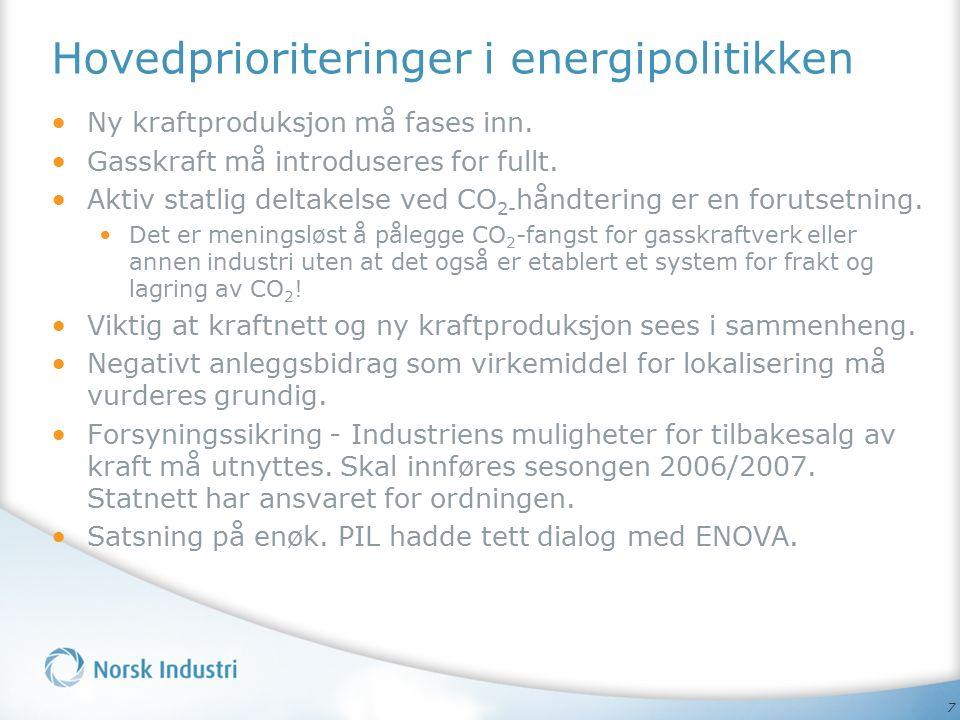 7 Hovedprioriteringer i energipolitikken Ny kraftproduksjon må fases inn. Gasskraft må introduseres for fullt. Aktiv statlig deltakelse ved CO 2- hånd