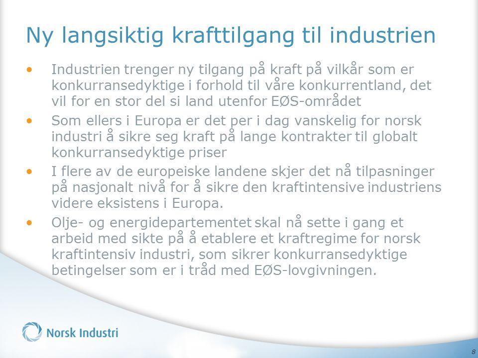 8 Ny langsiktig krafttilgang til industrien Industrien trenger ny tilgang på kraft på vilkår som er konkurransedyktige i forhold til våre konkurrentland, det vil for en stor del si land utenfor EØS-området Som ellers i Europa er det per i dag vanskelig for norsk industri å sikre seg kraft på lange kontrakter til globalt konkurransedyktige priser I flere av de europeiske landene skjer det nå tilpasninger på nasjonalt nivå for å sikre den kraftintensive industriens videre eksistens i Europa.