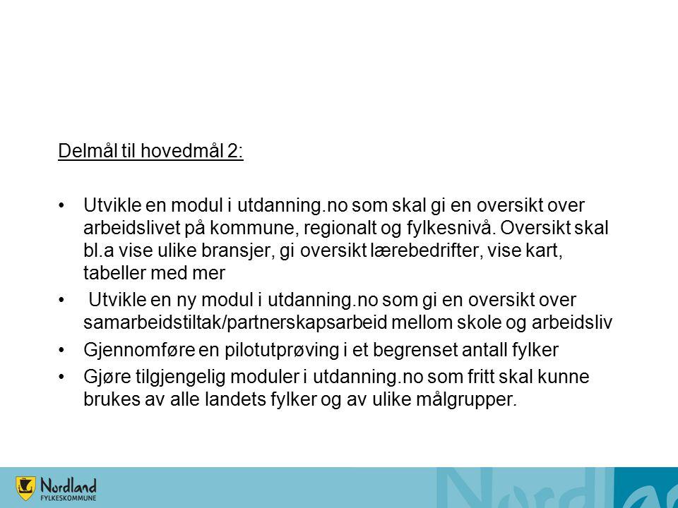 Delmål til hovedmål 2: Utvikle en modul i utdanning.no som skal gi en oversikt over arbeidslivet på kommune, regionalt og fylkesnivå.