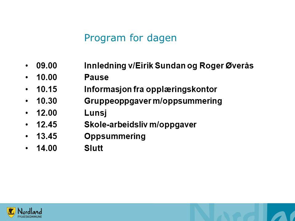 Program for dagen 09.00Innledning v/Eirik Sundan og Roger Øverås 10.00Pause 10.15Informasjon fra opplæringskontor 10.30Gruppeoppgaver m/oppsummering 12.00Lunsj 12.45Skole-arbeidsliv m/oppgaver 13.45Oppsummering 14.00Slutt