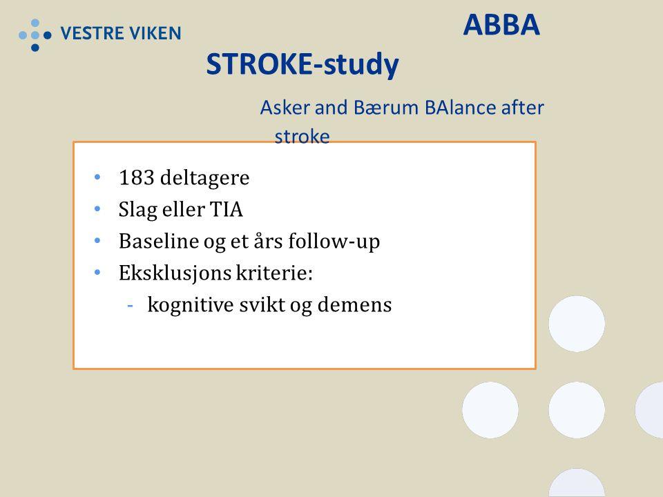 ABBA STROKE-study Asker and Bærum BAlance after stroke 183 deltagere Slag eller TIA Baseline og et års follow-up Eksklusjons kriterie: -kognitive svikt og demens