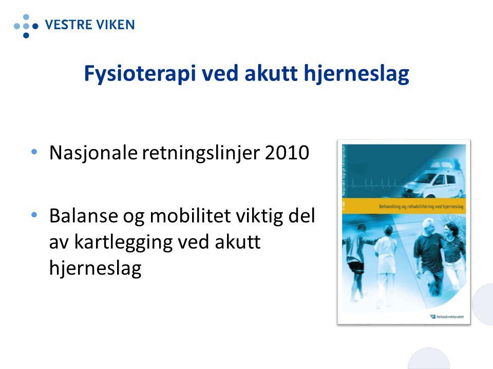 Fysioterapi ved akutt hjerneslag Nasjonale retningslinjer 2010 Balanse og mobilitet viktig del av kartlegging ved akutt hjerneslag