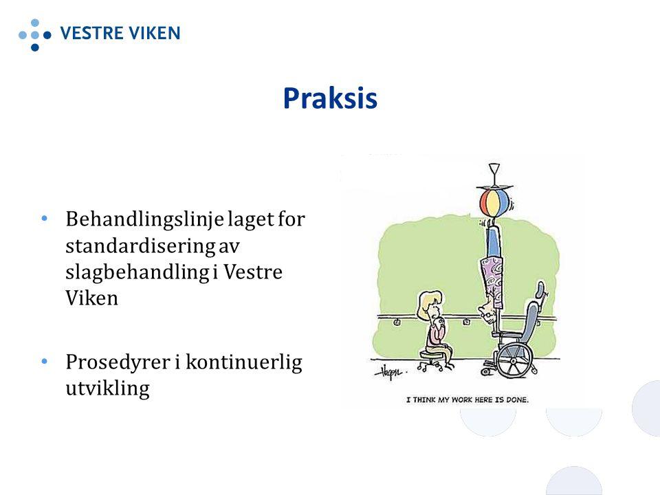 Praksis Behandlingslinje laget for standardisering av slagbehandling i Vestre Viken Prosedyrer i kontinuerlig utvikling