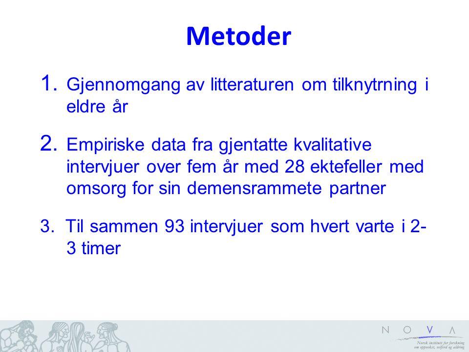 Metoder 1. Gjennomgang av litteraturen om tilknytrning i eldre år 2.