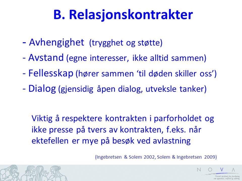 B. Relasjonskontrakter - Avhengighet (trygghet og støtte) - Avstand (egne interesser, ikke alltid sammen) - Fellesskap (hører sammen 'til døden skille