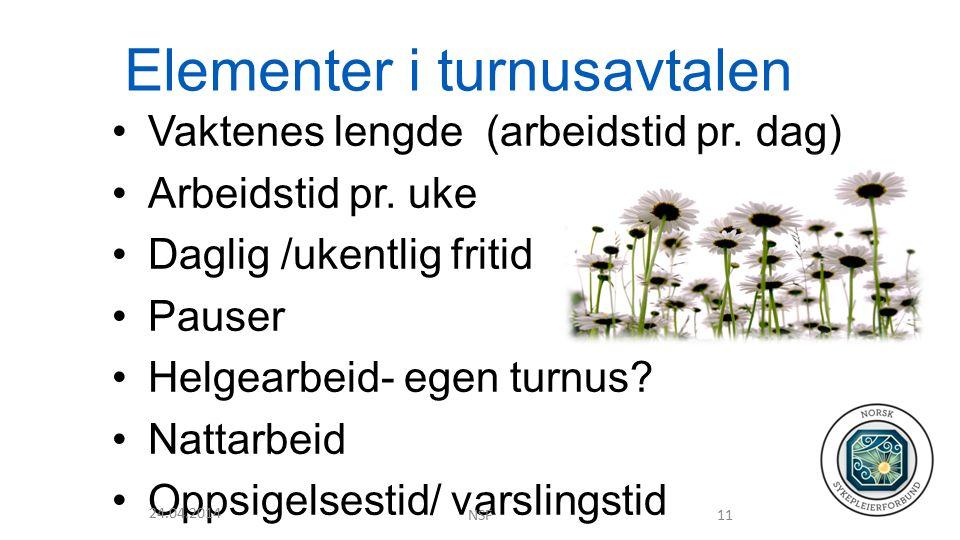 Elementer i turnusavtalen Vaktenes lengde (arbeidstid pr.
