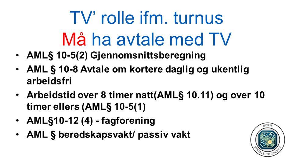 TV' rolle ifm. turnus Må ha avtale med TV AML§ 10-5(2) Gjennomsnittsberegning AML § 10-8 Avtale om kortere daglig og ukentlig arbeidsfri Arbeidstid ov