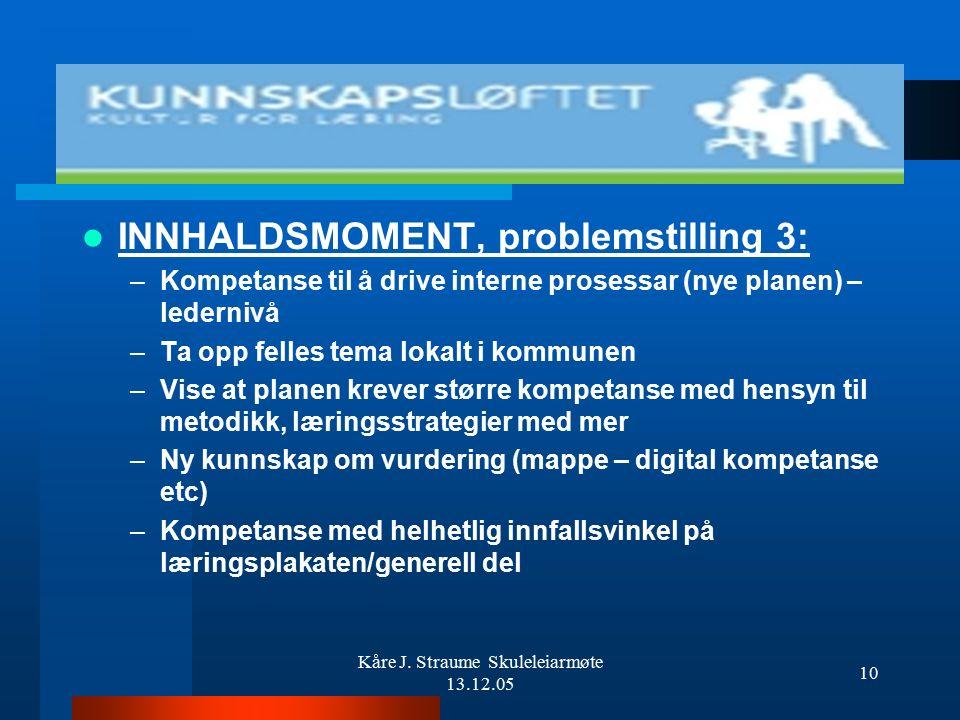 Kåre J. Straume Skuleleiarmøte 13.12.05 9 INNHALDSMOMENT, problemstilling 2: –Hvordan organisere gjennomføringen av planen i de ulike skolene/organisa