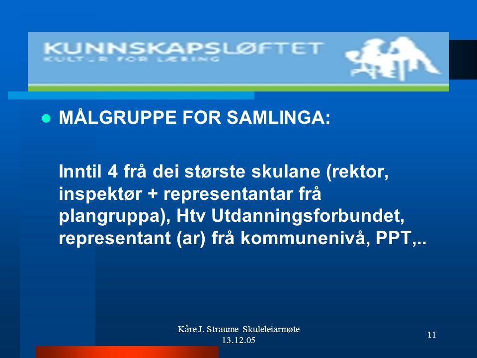 Kåre J. Straume Skuleleiarmøte 13.12.05 10 INNHALDSMOMENT, problemstilling 3: –Kompetanse til å drive interne prosessar (nye planen) – ledernivå –Ta o