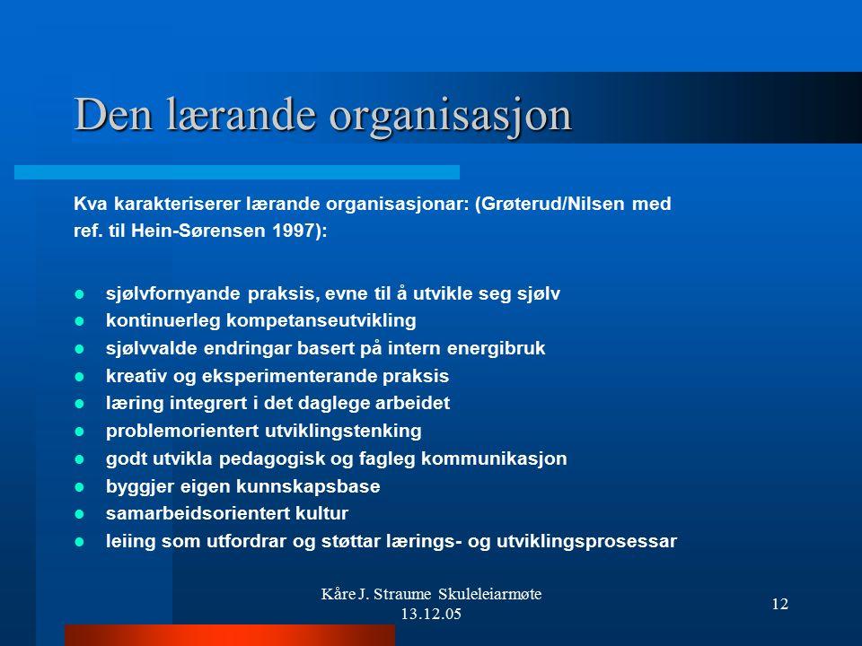 Kåre J. Straume Skuleleiarmøte 13.12.05 11 MÅLGRUPPE FOR SAMLINGA: Inntil 4 frå dei største skulane (rektor, inspektør + representantar frå plangruppa