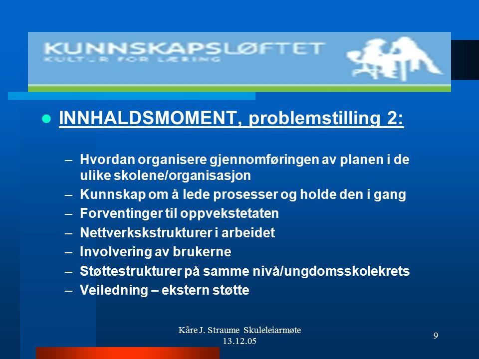 Kåre J. Straume Skuleleiarmøte 13.12.05 8 INNHALDSMOMENT, problemstilling 1: (I prioritert rekkefølge) –Tankegods, forventinger og ambisjoner i kunnsk