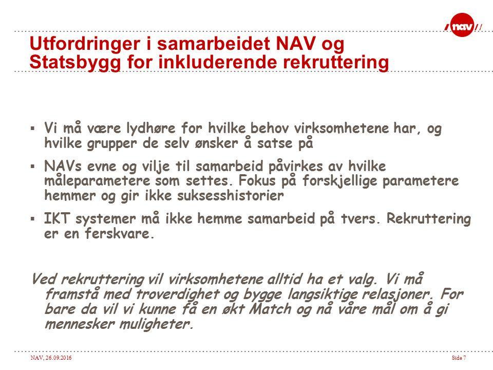 NAV, 26.09.2016Side 7 Utfordringer i samarbeidet NAV og Statsbygg for inkluderende rekruttering  Vi må være lydhøre for hvilke behov virksomhetene ha