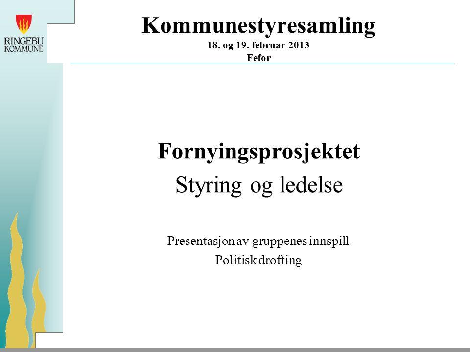 Kommunestyresamling 18. og 19. februar 2013 Fefor Fornyingsprosjektet Styring og ledelse Presentasjon av gruppenes innspill Politisk drøfting