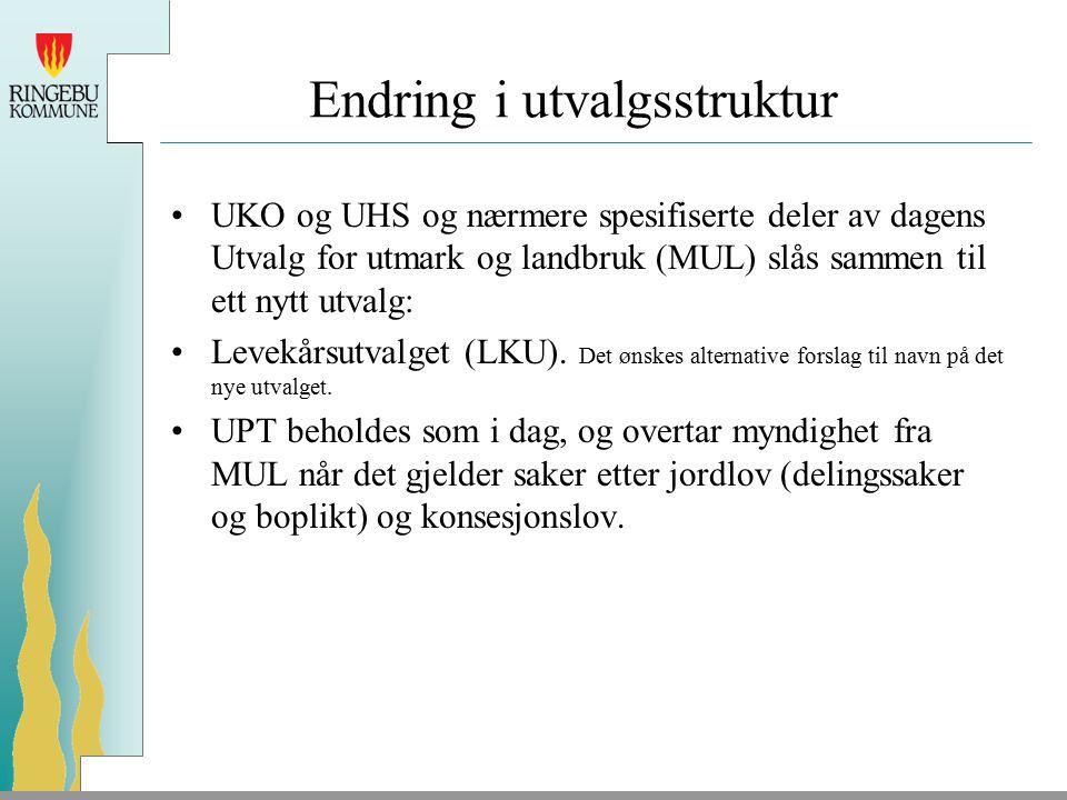 Endring i utvalgsstruktur UKO og UHS og nærmere spesifiserte deler av dagens Utvalg for utmark og landbruk (MUL) slås sammen til ett nytt utvalg: Levekårsutvalget (LKU).